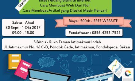 Workshop Membuat Website Mudah dan Murah 30 September 2017 ~ 1 Oktober 2017